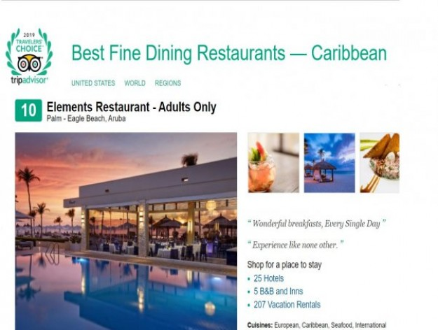 Elements Hailed as Top 10 Restaurant in the Caribbean by TripAdvisor